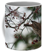 Sparrow Eating Berry Coffee Mug