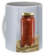 Spicy Salsa In Clear Glass Jar Coffee Mug