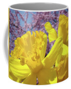 Spring Art Prints Yellow Daffodils Flowers Pink Blossoms Baslee Troutman Coffee Mug