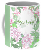 Spring  Background  With Pink Peonies And Flowers.  Coffee Mug