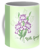 Spring Bouquet  With Three Irises.  Coffee Mug