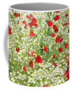 Spring Meadow With Poppy And Chamomile Flowers Coffee Mug