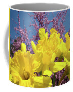 Springtime Yellow Daffodils Art Print Pink Blossoms Blue Sky Baslee Troutman Coffee Mug