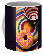 Sprinkled Donut On Circle Plate With Bowl Coffee Mug