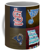 St Louis Sports Fan Recycled Vintage Missouri License Plate Art Cardinals Blues Rams Coffee Mug