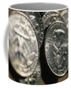 Stacks Of Quarters Stand Askew Coffee Mug by Stephen Alvarez