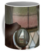 Stained Glass Window With Curtains In Crystal Ball Coffee Mug