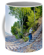 Stairway From Lake Superior Beach To Au Sable Lighthouse In Pictured Rocks National Lakeshore-michig Coffee Mug
