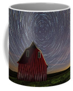 Star Trails At The Red Barn Coffee Mug