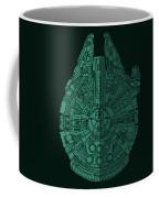 Star Wars Art - Millennium Falcon - Blue Green Coffee Mug