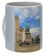 Statue Of Jan Van Eyck Beside The Spieglerei Canal In Bruges Coffee Mug