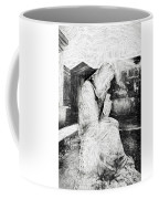Statue Of Weeping Woman, Lafayette Cemetery, New Orleans In Black And White Sketch Coffee Mug