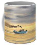 Steamship Freighter Heading Towards The Ocean Coffee Mug
