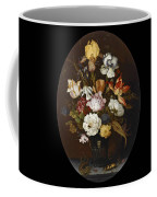 Still Life Of Flowers In A Glass Vase Coffee Mug