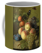 Still Life Of Peaches  Grapes And Plums On A Stone Ledge With A Bird And Butterfly Coffee Mug