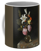 Still Life Of Roses Lilies And Other Flowers In A Glass Vase On A Marble Ledge Coffee Mug