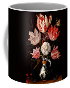 Still Life Of Variegated Tulips In A Ceramic Vase With A Wasp A Dragongly A Butterfly And A Lizard Coffee Mug