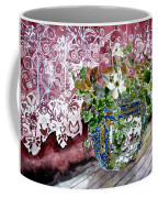 Still Life Vase And Lace Watercolor Painting Coffee Mug