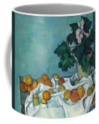 Still Life With Apples And A Pot Of Primroses, 1890 Coffee Mug