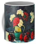 Still Life With Apples And Carnations Coffee Mug by Ana Maria Edulescu