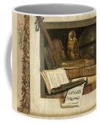 Still Life With Books Sheet Music Violin Celestial Globe And An Owl Coffee Mug