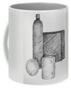 Still Life With Cup Bottle And Shapes Coffee Mug by Michelle Calkins
