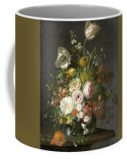 Still Life With Flowers In A Glass Vase Coffee Mug