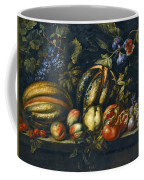 Still Life With Melons Apples Cherries Figs And Grapes On A Stone Ledge Coffee Mug
