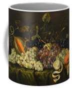 Still Life With Red Black And Green Grapes Coffee Mug
