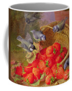 Still Life With Strawberries And Bluetits Coffee Mug