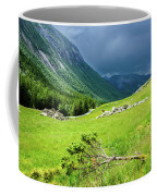 Storm Approaching Over Beautiful Green Field In Norway Coffee Mug
