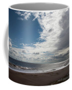 Storm Clouds Clearing The Beach With Wind Farm In The Background Skegness Lincolnshire England Coffee Mug