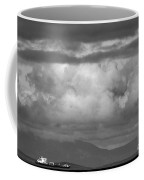 Storms Over The Cargo Ship - Black And White Coffee Mug