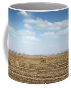 Straw Bale And Center Pivot Sprinkler System On Field Coffee Mug