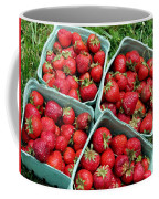 Strawberries In A Box On The Green Grass Coffee Mug