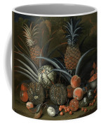Strawberries In A Porcelain Bowl With Pineapples Melons Peaches And Figs Before A Tropical Landscape Coffee Mug
