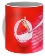 Strawberry Yogurt In Round Bowl With Spoon Coffee Mug