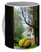 Street With Forsythia Coffee Mug