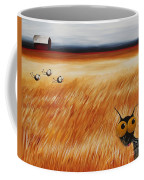 Stressie Cat And Crows In The Hay Fields Coffee Mug