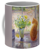 Striped Jug With Spring Flowers Coffee Mug