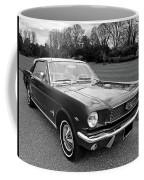 Stunning 1966 Mustang In Black And White Coffee Mug