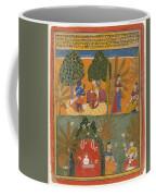 Style Of Manohar    Krishna And Radha With Their Confidantes Page From A Dispersed Gita Govinda Coffee Mug