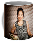 Stylish Vintage Asian Pin-up Lady With Cigarette Coffee Mug by Jorgo Photography - Wall Art Gallery