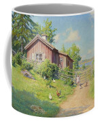 Subjects With Girl And Pecking Chickens Coffee Mug
