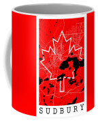 Sudbury Street Map - Sudbury Canada Road Map Art On Canada Flag Symbols Coffee Mug
