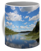 Summer Cloud Reflections On Little Indian Pond In Saint Albans Maine Coffee Mug