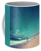 Summer Days - Abstract Seascape With Surfer Coffee Mug
