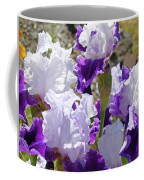 Summer Iris Garden Art Print White Purple Irises Flowers Baslee Troutman Coffee Mug