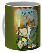 Summoning Old Friends - Ghost Cats Magic Coffee Mug
