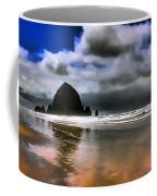 Sun Shining On Haystack Rock Coffee Mug